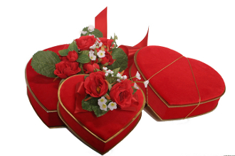 Image shows two types of velvet heart gift boxes, one with flowers and one without flowers, on a white background.
