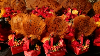 Image shows assorted Thanksgiving turkey gift boxes on a black background.