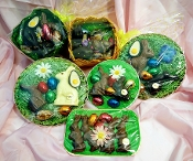 variety of easter trays with bunnies/eggs